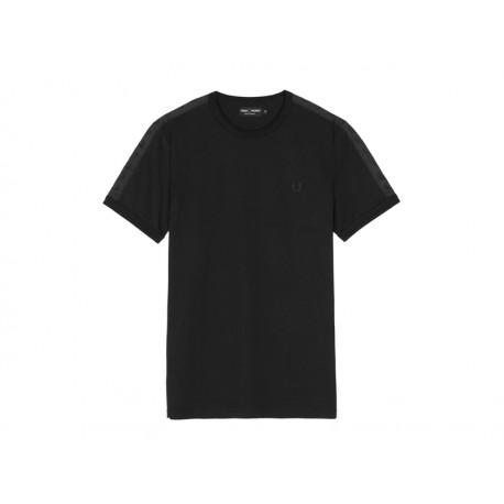 T-shirt Fred Perry Uomo Tonal Taped Black
