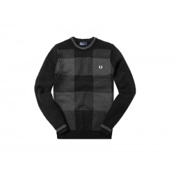 Fred Perry maglia girocollo uomo patchwork textured crew neck 102