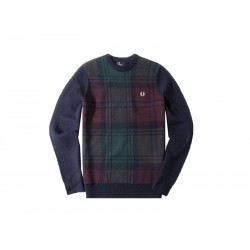 Maglione uomo fred perry needlepunch crew neck sweater 608 blu navy