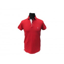 Polo Refrigue uomo ricamo collo slim-fit night red