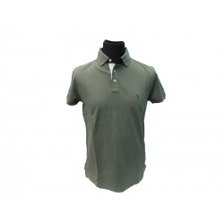 Polo Refrigue uomo ricamo collo slim-fit Green Military
