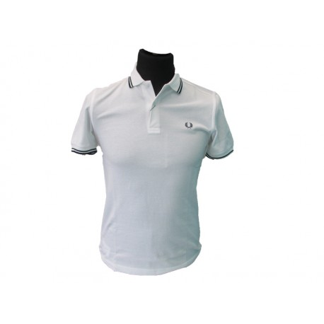 Polo Fred Perry Uomo twin Slim Fit white