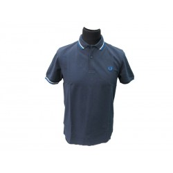 Polo Fred Perry Uomo Twin Slim Fit carbon blu