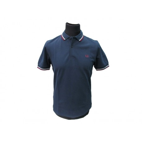 Polo Fred Perry Uomo Tipped Slim Fit Blu
