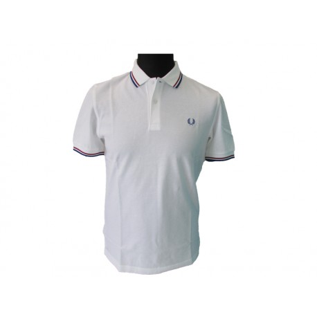 Polo Fred Perry Uomo Twin white reg