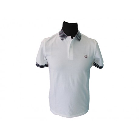 Polo Fred Perry Uomo Chequerboard white